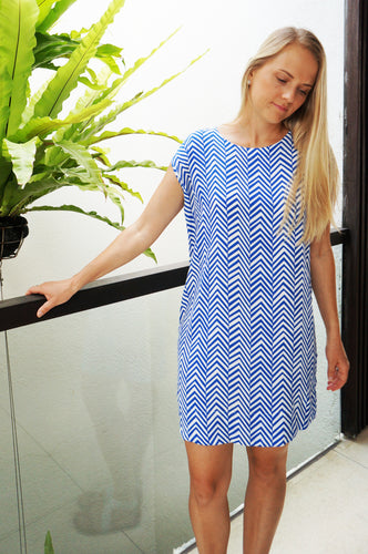 Classic Shift Dress - Blue Arrows