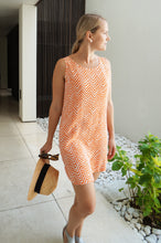 Load image into Gallery viewer, Sleeveless Shift Dress - Orange Arrows