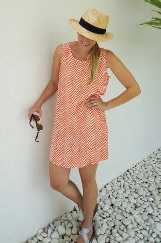 Orange Arrows Sleeveless Shift Dress