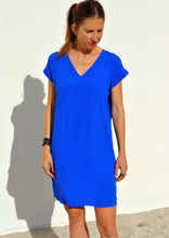 V-Neck Shift Dress - Electric Blue