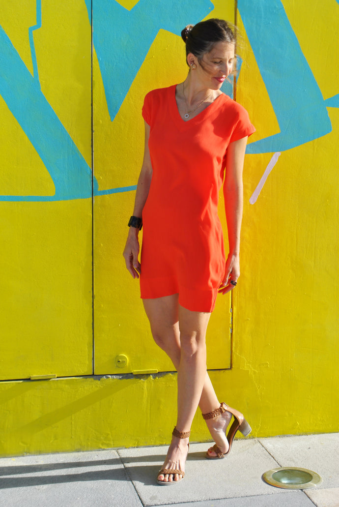 V-Neck Shift Dress - Orange