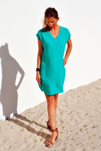 Load image into Gallery viewer, V-neck Shift Dress - Emerald