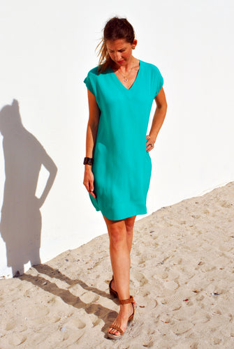 V-Neck Shift Dress - Emerald