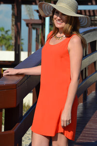 Sleeveless Shift Dress - Orange
