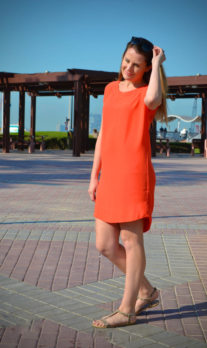 Classic Shift Dress - Orange