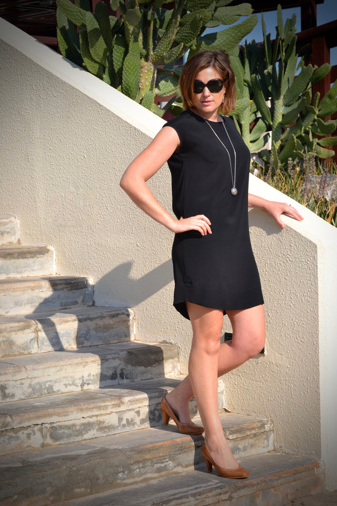 Classic Shift Dress (Longer Length) - Black