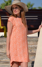 Load image into Gallery viewer, Classic Shift Dress - Orange Arrows