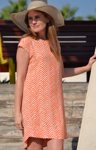 Classic Shift Dress - Orange Arrows