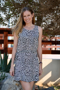 Sleeveless Shift Dress (Longer length) - Animal