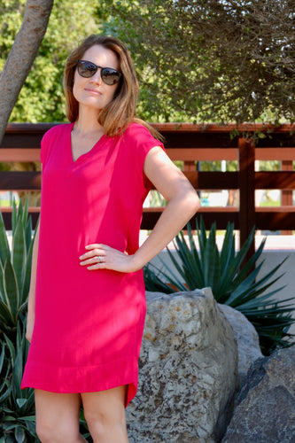 V-Neck Shift Dress - Hot Pink