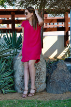 Load image into Gallery viewer, V-Neck Shift Dress - Hot Pink