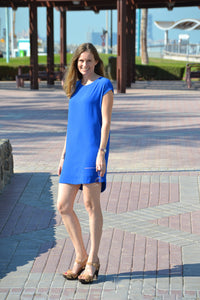 Classic Shift Dress (Longer Length) - Electric Blue
