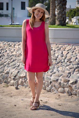 Sleeveless Shift Dress - Pink