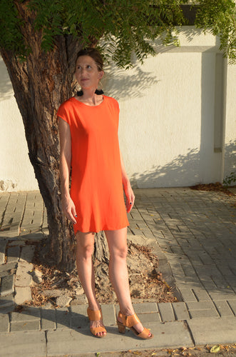 Classic Shift Dress (Longer length) - Orange