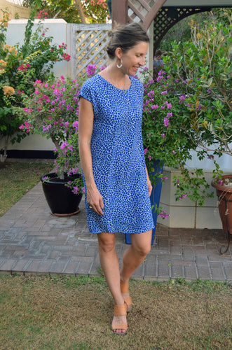 Classic Shift Dress (Longer length) - Electric Blue Pebble