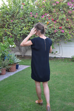 Load image into Gallery viewer, V-neck Shift Dress - Black