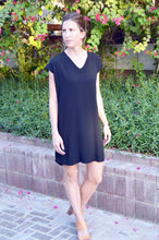 V-Neck Shift Dress - Black