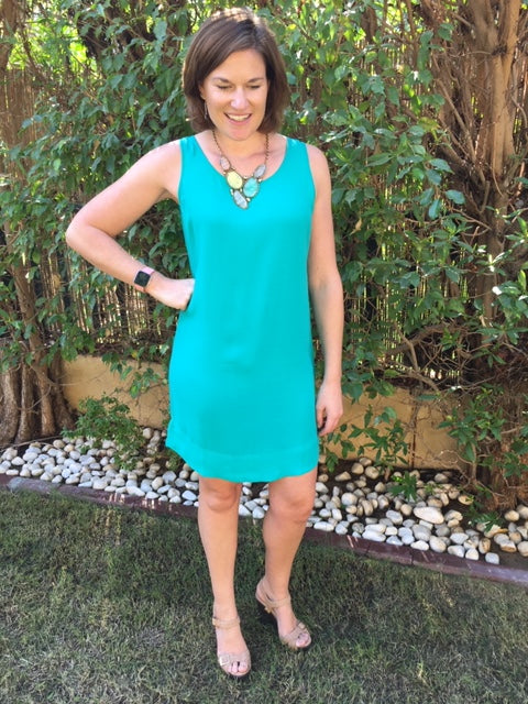 Sleeveless Shift Dress (Longer length) - Emerald
