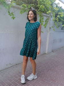 Adelaide Dress - Green Gingham with Gold!