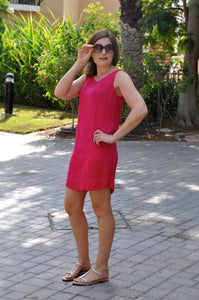 Sleeveless Shift Dress (Longer length) - Pink