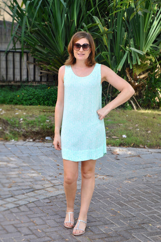 Sleeveless Shift Dress - Aqua Capri