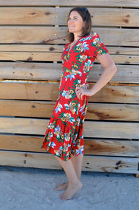 Madison wrap Dress - Red Floral