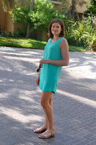 Sleeveless Shift Dress - Aqua