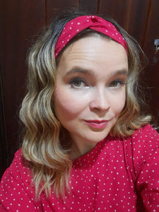 Twist Headband - Red Polka dot