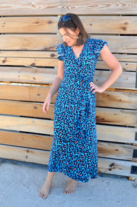 Phoenix Wrap Dress - Blue animal