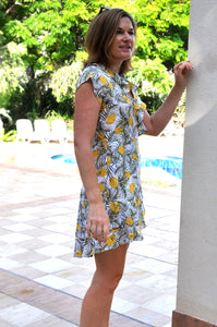 Sydney wrap Dress - Leafy Lemon Print