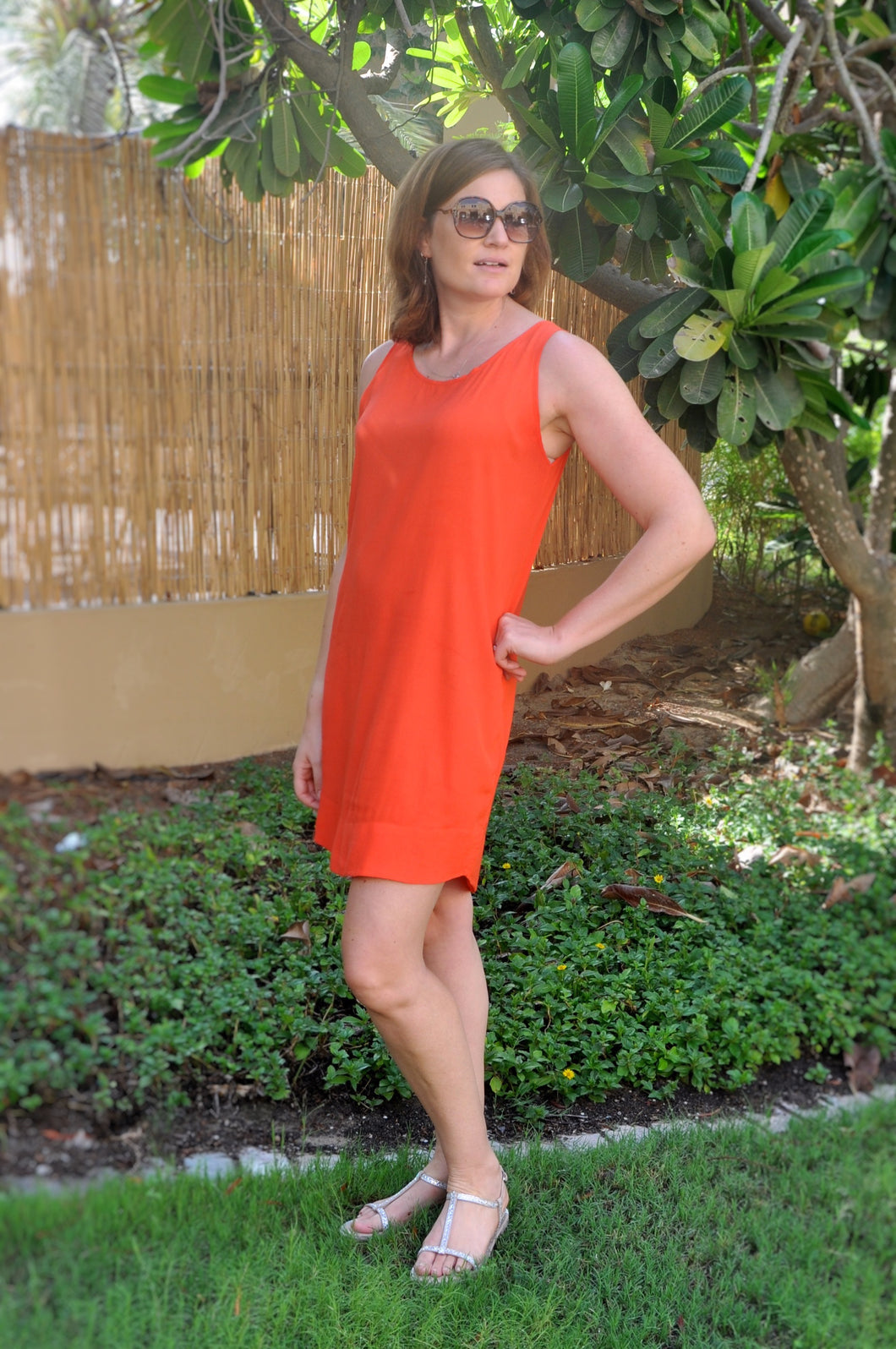 Sleeveless Shift Dress (Longer length) - Orange