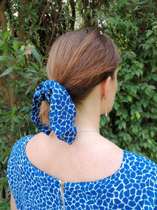 Bow Scrunchie - Electric Blue Pebble