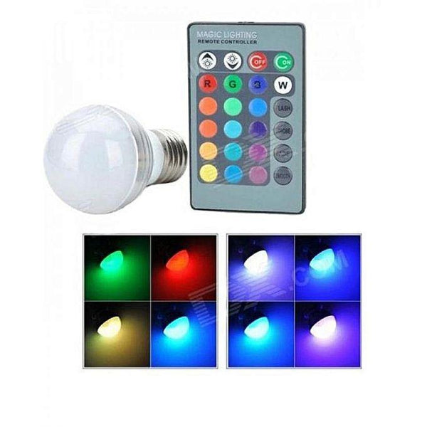 16 Colors Change Magic Light Rgb Bulb - 3W With Remote Control Tajori