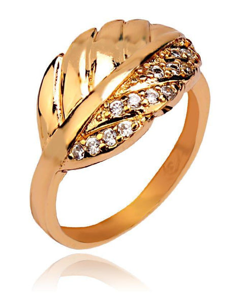18-K Gold Plated Stylish Ring - 11073 Tajori