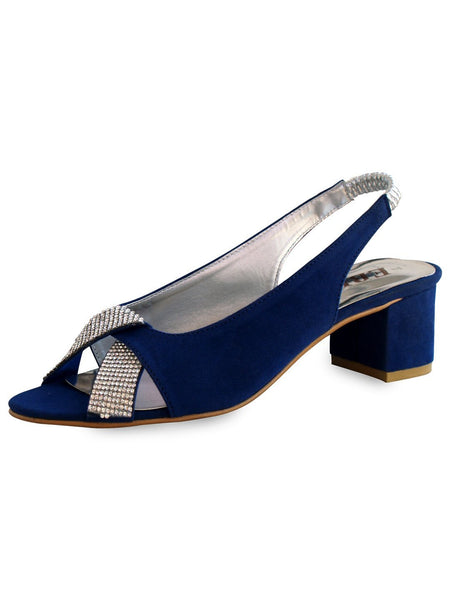 2″ Block Fancy Bedded Ladies Heel Black & Royal Blue Tajori