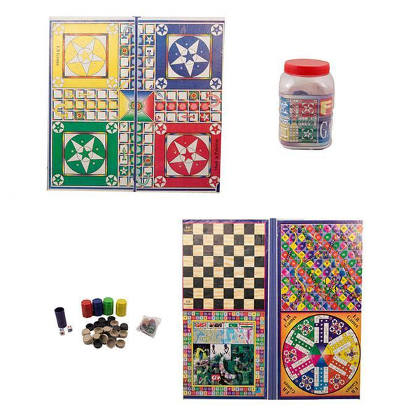 26x26 - 5 in 1 Ludo Board Game - With Goti Pack Tajori