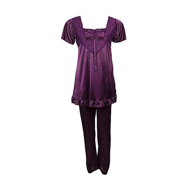 2pc Long Robe Bridal gown Set Nightwear Set-Purple Tajori