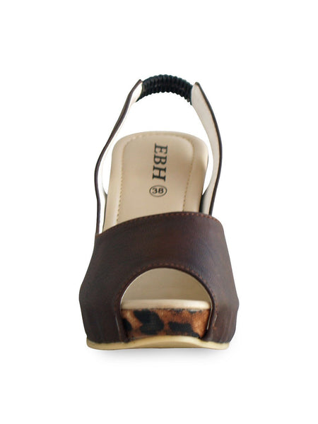3.5 Inches Artificial Leather Ladies Sandal Black & Brown Tajori