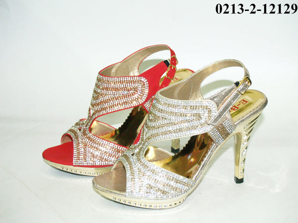 3.5 Inches Stiletto Fancy Bridal Heel Red & Gold Tajori