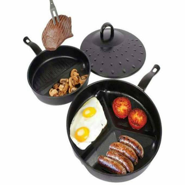 3 in 1 - Non Stick Divider Frying Pan Set Wid Lid Tajori