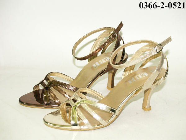 3 Inches Artificial Leather Ladies Sandals Copper & Gold Tajori