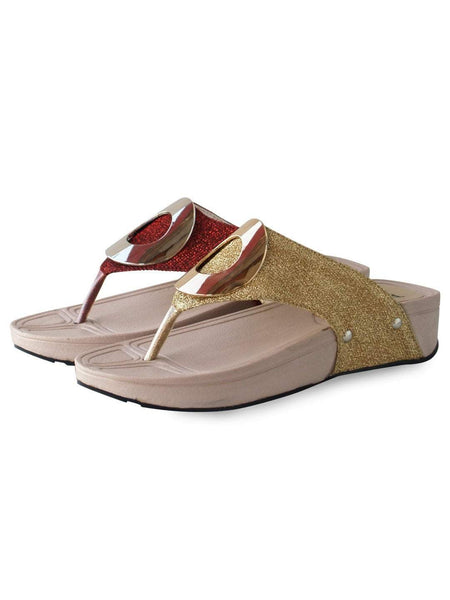 "3"" Platform Fancy Leather Ladies Slippers Golden & Maroon Tajori"