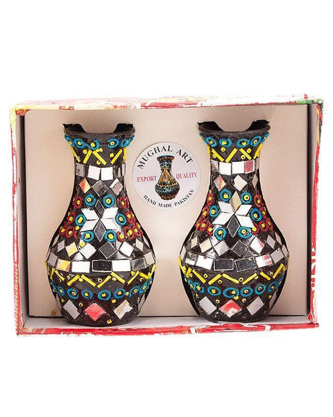 4x2.5''-Handmade Mirror-Work & Delicately Beaded Classic Vase Set Decoration Piece Tajori