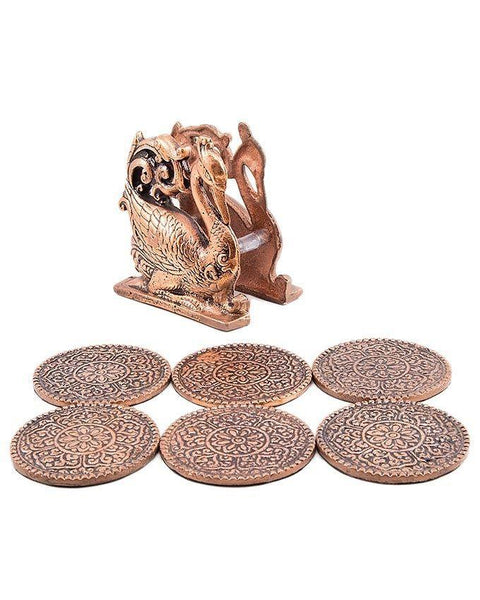 4x4'' Antique Floral Embossed Round Metal Cup Mats And Peacock Mat Holder Tajori