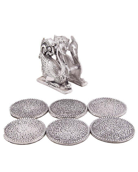 4x4'' Floral Embossed Round Metal Cup Mats And Peacock Mat Holder Tajori