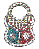 8x5''-Handmade Mirror-Work & Delicately Beaded Classic Wall Hanging Lock Decoration Piece Tajori
