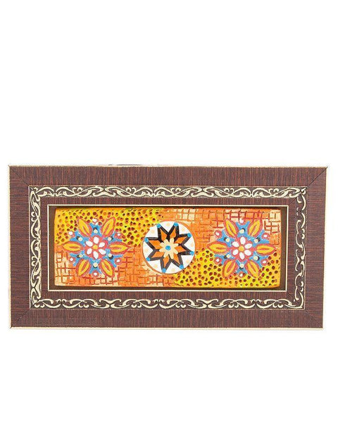 9x4.5''-Embossed Floral Pattern In Beautiful Classic Wooden Frame Tajori