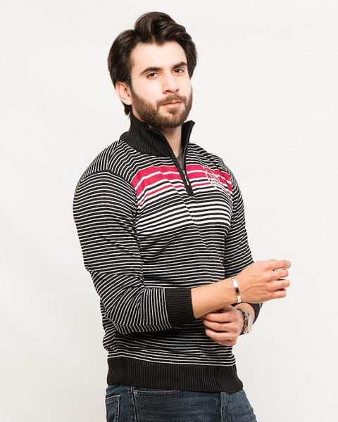 Acrylic Quarter Zip with Stripe – Black Tajori