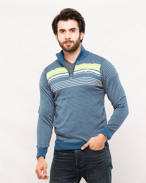 Acrylic Quarter Zip with Stripe – Blue Tajori