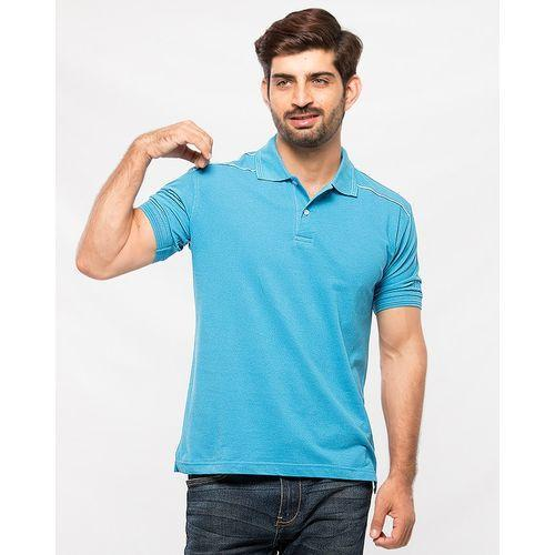 Air Force Blue Cotton Polo Shirt for Men Tajori